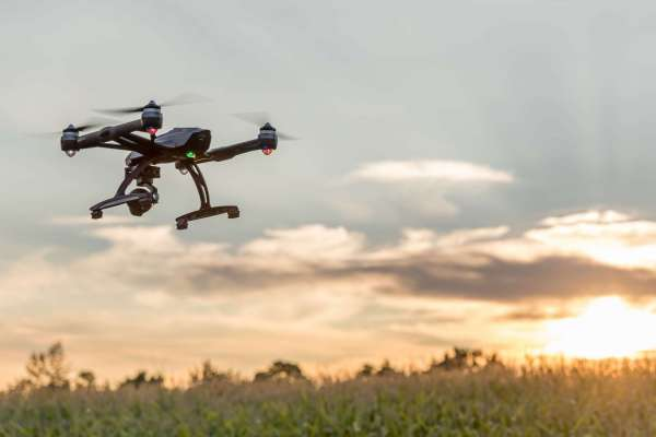 Laval, Canada - September 4, 2016: DSLR picture of a Drone Flying At Sunset by a beautiful summer day over a corn field.  The drone is a Yuneec Typhoon Q500+ equipped with a 4k camera.